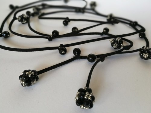 leather cord &  black beads