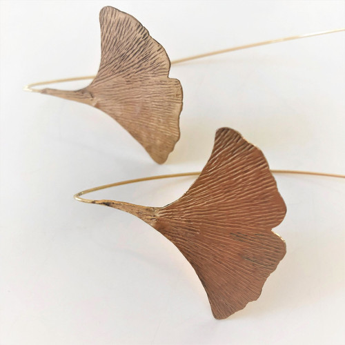 gold ginkgo earrings