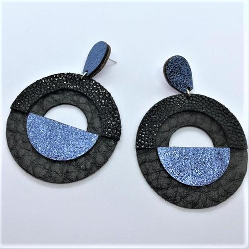 geo leather earrings