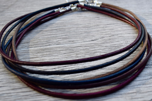 leather cord silver clasp