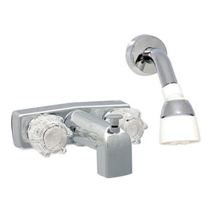 Phoenix Faucets 2-Knob Brass Tub Diverter Faucet with Shower Head Kit 4 Inch Chrome-1