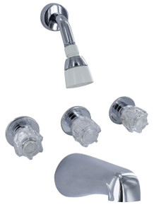 Phoenix Faucets 3-Knob Tub Shower Faucet with Shower Head Kit Chrome-1