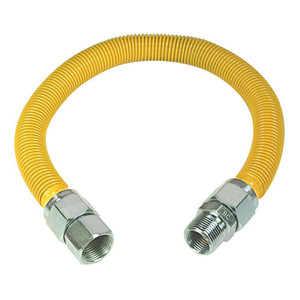 Crown Industries 34 Inch MIP x 34 Inch FIP Coated Stainless Steel Gas Connector 1 Inch O.D.-1
