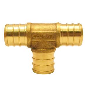 Crown Industries 34 Inch x 34 Inch x 34 Inch Brass PEX Barb Insert Tee-1