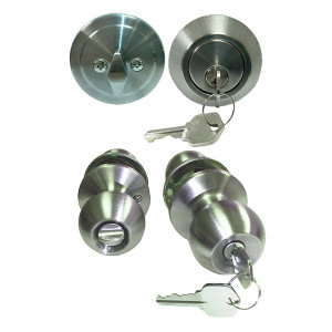 Pocahontas Stainless Steel Keyed Entry Knob and Single Cylinder Deadbolt Combo Pack Keyed Alike-1
