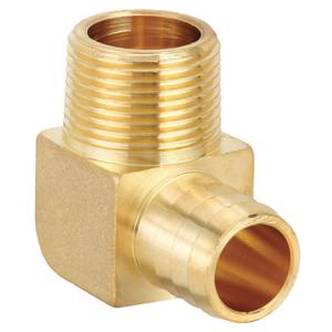 3/4 Inch MIP x 3/4 Inch Brass PEX  Barb 90 Degree Elbow-1