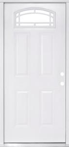 Therma-Tru 34 Inch x 80 Inch Sunburst Primed Fiberglass Prehung Inswing House Type Exterior Door 4 Inch Jamb-1