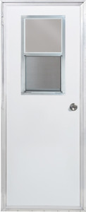 Dexter 34 Inch x 70 Inch Left-Hand Mobile Home Outswing Door with Vertical Sliding Window Frosted Glass-1