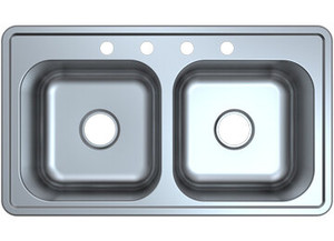 Stonecrest 33x19x8 Stainless Steel Double Basin Sink