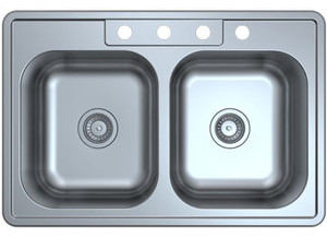Stonecrest 33x22x8 Stainless Steel Double Basin Sink