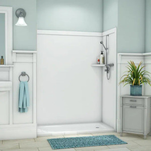 """60"""" x 36"""" x 80"""" Flexstone Royale Trim-to-Fit Tub and Shower Wall Surround Kit - White - 1"""