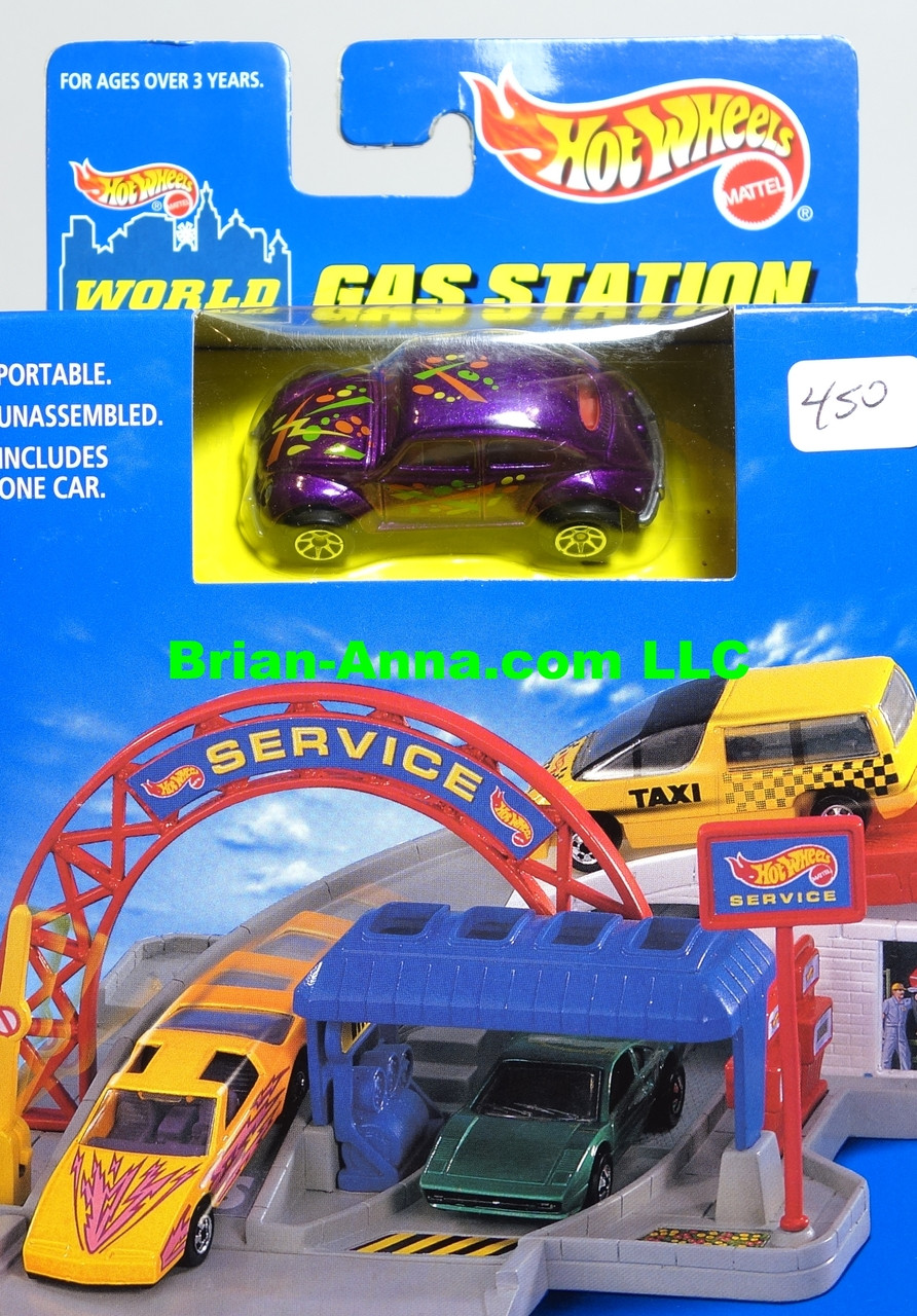 Hot Wheels World Sto Go Gas Station Vw Bug Metalflake Purple 7spk Wheels