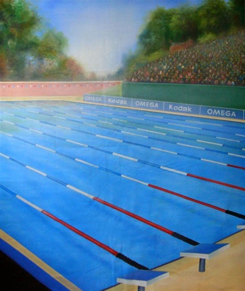 Swimming Pool Hand Painted Scenic Backdrop