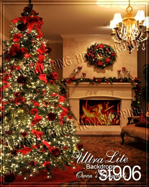 Christmas Decorated Tree And Fireplace Ultralite Backdrop