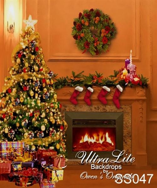 Christmas Fireplace.Christmas Fireplace And Tree Ultralite Backdrop