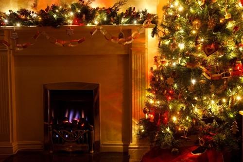 Holiday Christmas Fireplace Backdrop