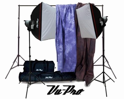 vu pro complete basic home photography studio package photo lighting photography backdrop. Black Bedroom Furniture Sets. Home Design Ideas