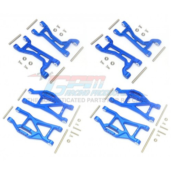 GPM Alum Full Suspension Arm Set Front + Rear & Upper + Lower Arms Blue : Maxx