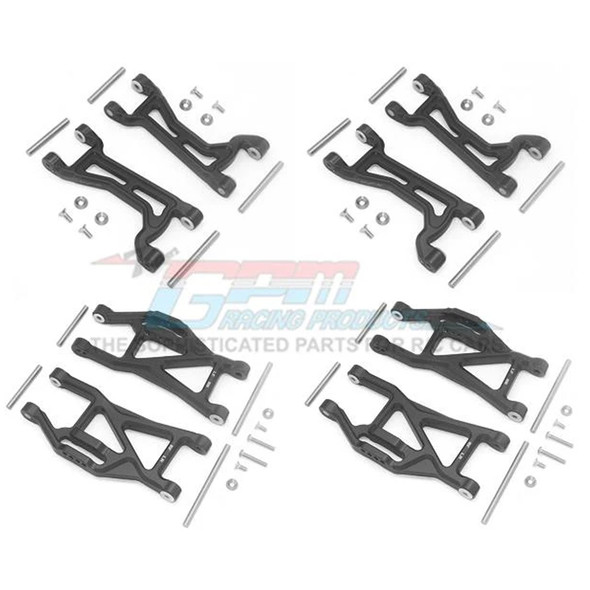 GPM Alum Full Suspension Arm Set Front + Rear & Upper + Lower Arms Black : Maxx