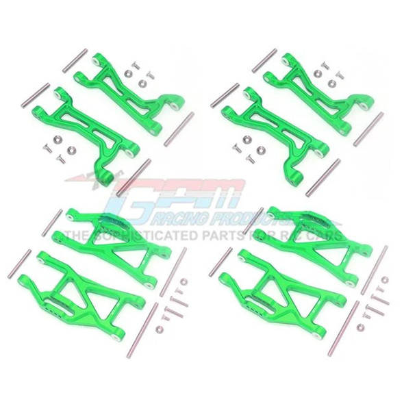 GPM Alum Full Suspension Arm Set Front + Rear & Upper + Lower Arms Green : Maxx