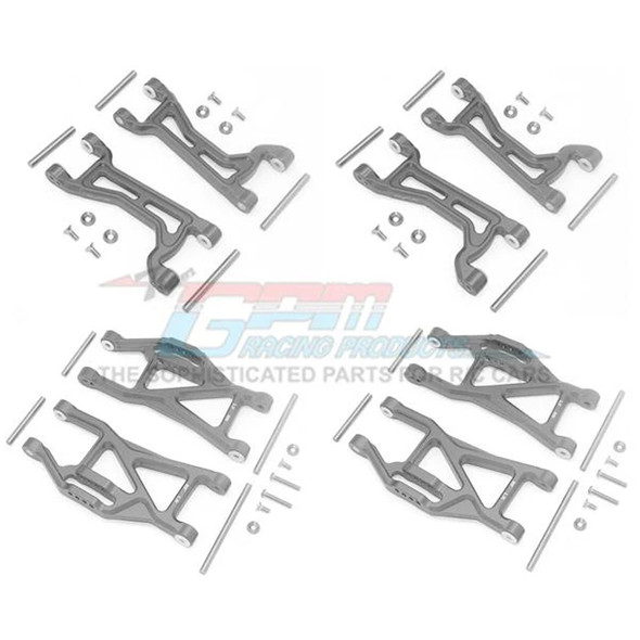 GPM Alum Full Suspension Arm Set Front + Rear & Upper + Lower Arms Grey : Maxx