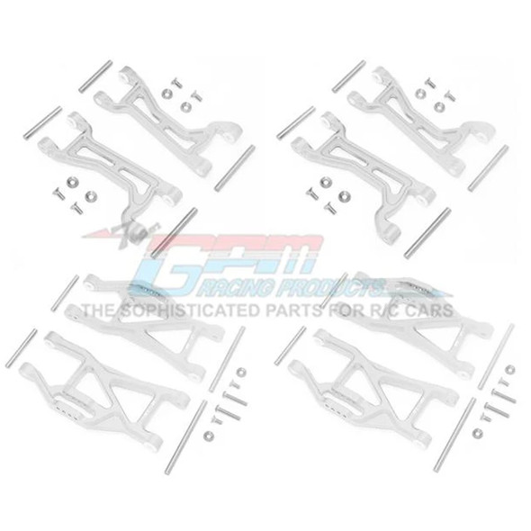 GPM Alum Full Suspension Arm Set Front + Rear & Upper + Lower Arms Silver : Maxx