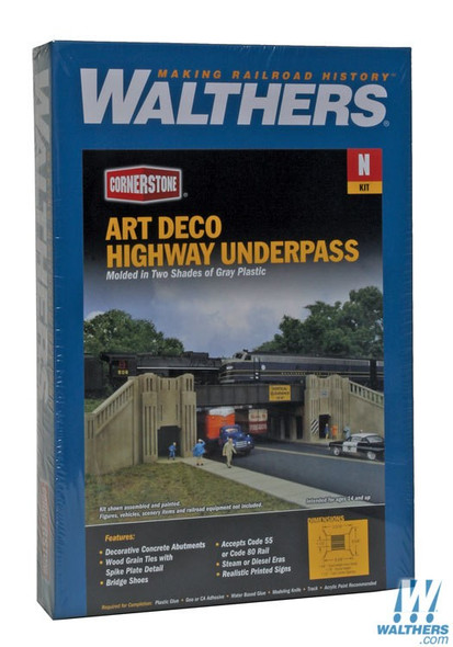 "Walthers 933-3800 Art Deco Highway Underpass Kit - 8-3/8 x 6-5/8 x 1-7/8"" N Scale"