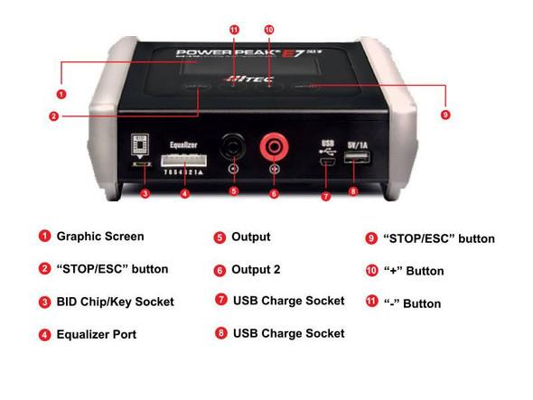 Hitec 44265 Power Peak E7 200W AC/DC Multi-Chemistry Charger