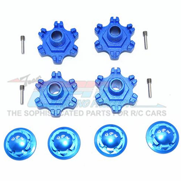 GPM Racing Aluminum Wheel Hex +6mm + Wheel Lock (12Pcs) Blue : Limitless
