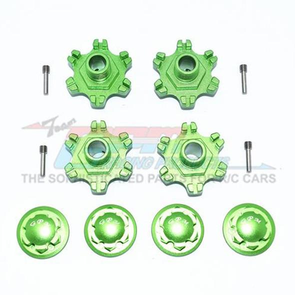 GPM Racing Aluminum Wheel Hex +6mm + Wheel Lock (12Pcs) Green : Limitless