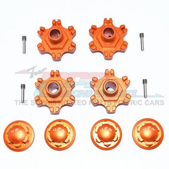 GPM Racing Aluminum Wheel Hex +6mm + Wheel Lock (12Pcs) Orange : Limitless