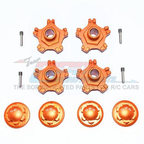 GPM Aluminum Wheel Hex +6mm + Wheel Lock - (8Pcs) Set Orange : Infraction