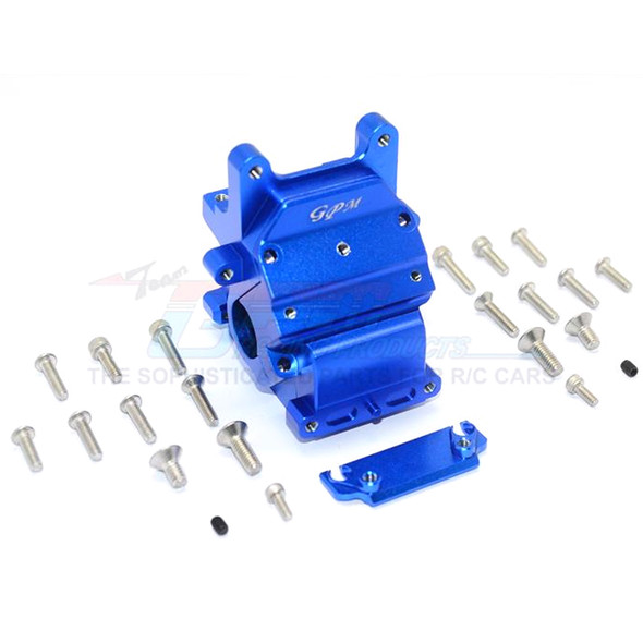 GPM Racing Alum Front/Rear Gear Box Blue : Kraton / Senton / Typhon / Talion