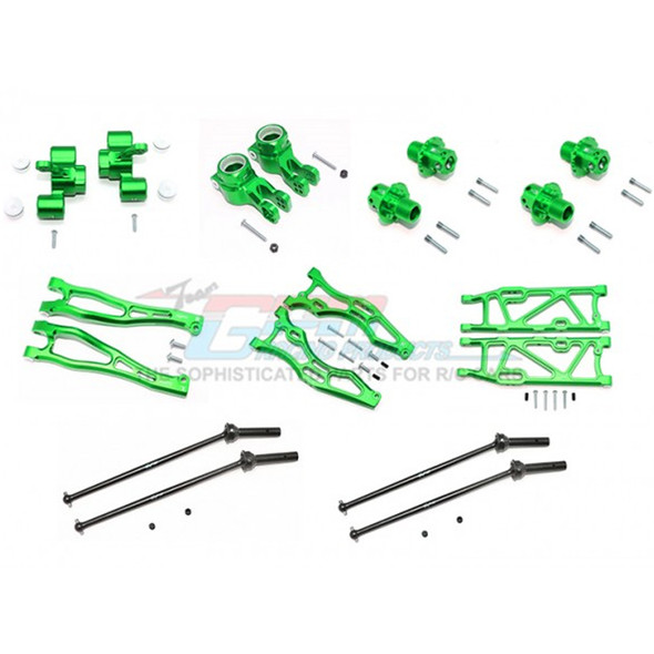 GPM Alum F Upper+Lower Arms/R Lower Arms/F+R Knuckle Arms/CVD Drive Shaft/13mm Hex Green : Kraton / Outcast