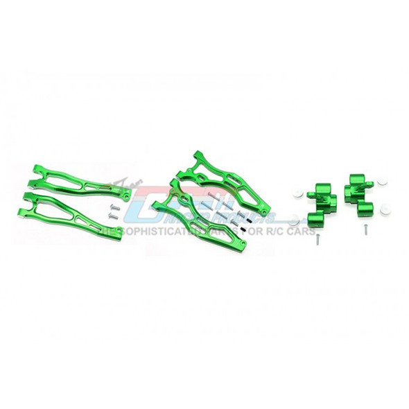 GPM Alum Front Upper&Lower Arms+Front Knuckle Arms Green : Kraton/Outcast