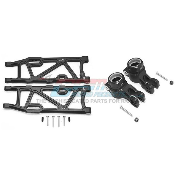 GPM Racing Alum Rear Lower Arms+Rear Knuckle Arms Black : Kraton / Outcast