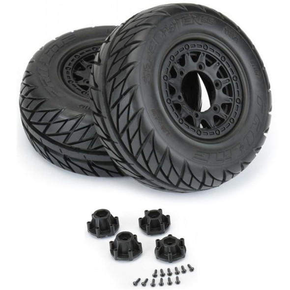 Pro-Line 1167-10 St Fighter SC 2.2/3.0'' Street Tires w/ Black Wheels : Slash 2WD/4WD F/R