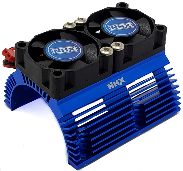 NHX Heatsink with Twin High Speed Tornado 2800 RPM Cooling Fans for 1/8 Motors Blue