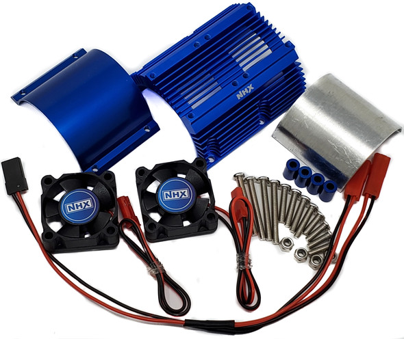 NHX Heatsink with Twin High Speed Tornado 2800 RPM Cooling Fans for 1/8 Motors Blue