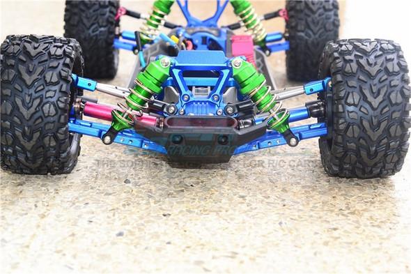 GPM Alum Front + Rear Shocks Low Center Of Gravity Version Blue : Rustler 4x4