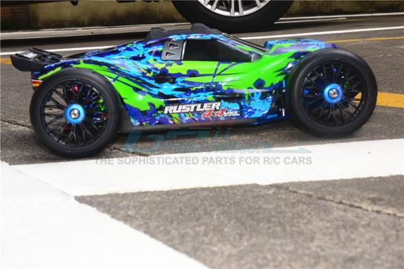 GPM F/R Alum Shocks+Steel #45 Axles+Spring Steel Hex+Tires Blue : Rustler 4x4 VXL