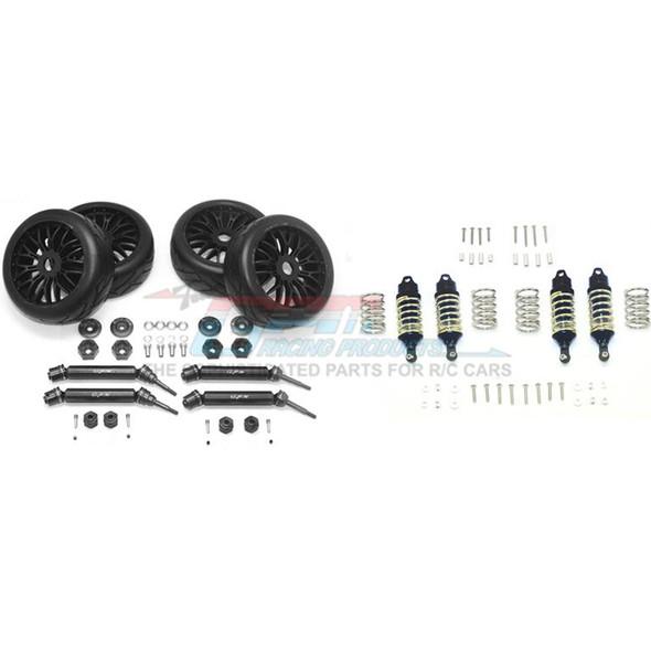 GPM F/R Alum Shocks+Steel #45 Axles+Spring Steel Hex+Tires Black : Rustler 4x4 VXL