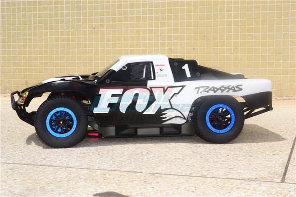 GPM F/R Alum Shocks+Steel #45 Axles+Spring Hex+Tires/Rim Black : Rustler 4x4 VXL