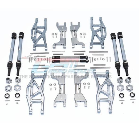 GPM Alum F&R Upp+Low Arms+F&R Adj CVD Drive Shaft+Hex Adap+Whl Lock Grey : Maxx