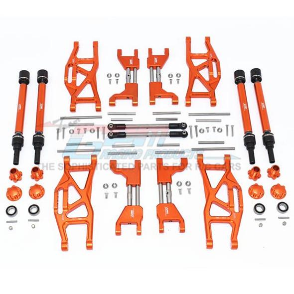GPM Alum F&R Upp+Low Arms+F&R Adj CVD Drive Shaft+Hex Adap+Whl Lock Orange : Maxx