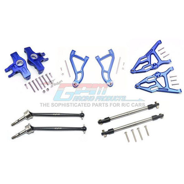 GPM Alum Frt Upper & Low Arms+Knuckle Arms+Harden Stl CVD Drive Shaft Blue : UDR