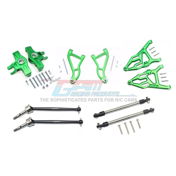 GPM Alum Frt Upper & Low Arms+Knuckle Arms+Harden Stl CVD Drive Shaft Green : UDR