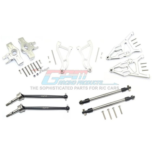 GPM Alum Frt Upper & Low Arms+Knuckle Arms+Harden Stl CVD Drive Shaft Silver : UDR