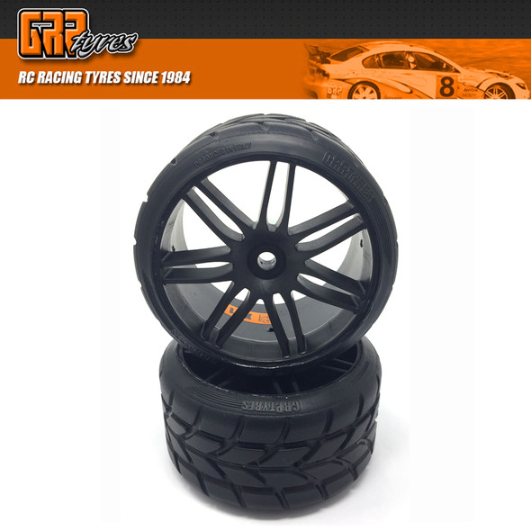 GRP GWX22-XR1 1:5 TC W22 RAIN XR1 ExtraSoft Rain Tire w/ Black Wheel (2)