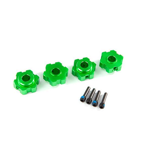Traxxas 8956G Alum Wheel Hubs Hex (4) Green / 4X13mm Screw Pins (4) : Maxx
